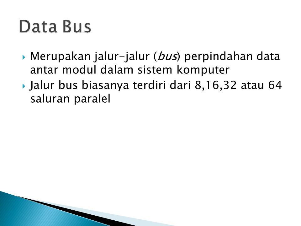  Merupakan jalur-jalur (bus) perpindahan data antar modul dalam sistem komputer  Jalur bus biasanya terdiri dari 8,16,32 atau 64 saluran paralel
