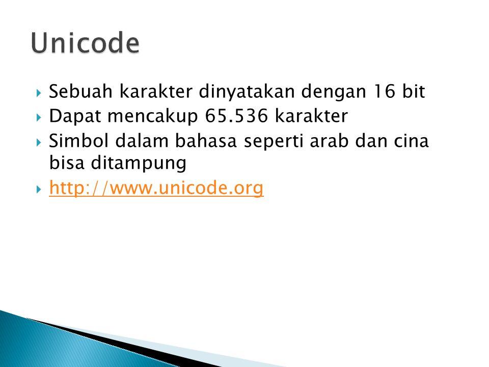  Sebuah karakter dinyatakan dengan 16 bit  Dapat mencakup 65.536 karakter  Simbol dalam bahasa seperti arab dan cina bisa ditampung  http://www.un