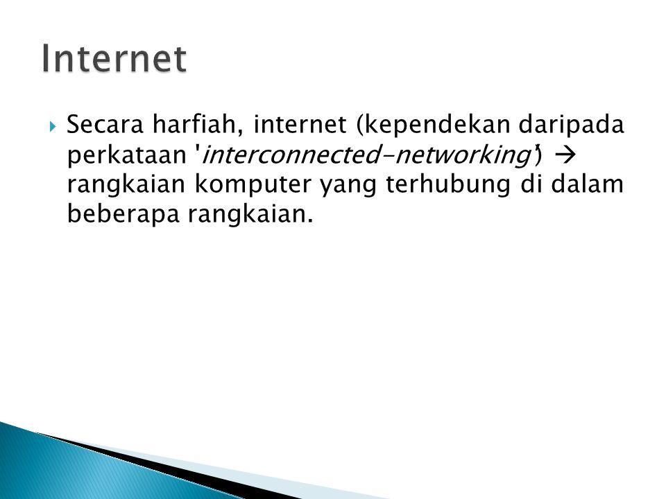  Secara harfiah, internet (kependekan daripada perkataan 'interconnected-networking')  rangkaian komputer yang terhubung di dalam beberapa rangkaian
