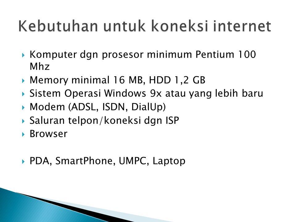  Komputer dgn prosesor minimum Pentium 100 Mhz  Memory minimal 16 MB, HDD 1,2 GB  Sistem Operasi Windows 9x atau yang lebih baru  Modem (ADSL, ISD