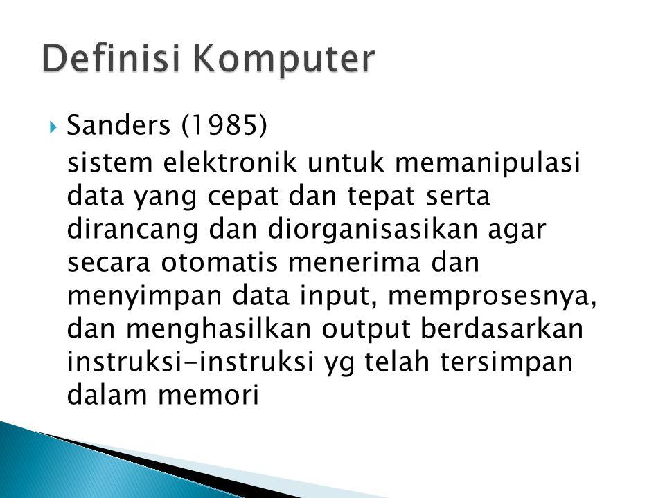  Perangkat elektronik yg dpt menerima masukan (input), dan selanjutnya melakukan pengolahan (process) untuk menghasilkan keluaran (output) berupa informasi.