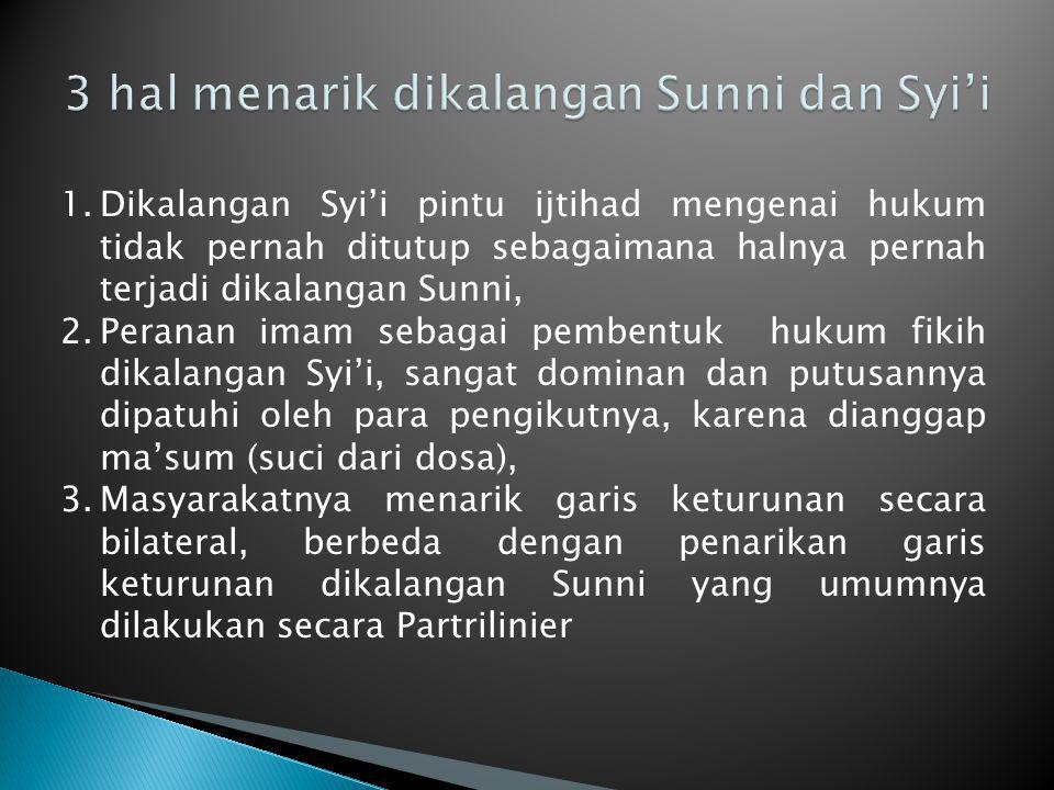 1.Dikalangan Syi'i pintu ijtihad mengenai hukum tidak pernah ditutup sebagaimana halnya pernah terjadi dikalangan Sunni, 2.Peranan imam sebagai pemben