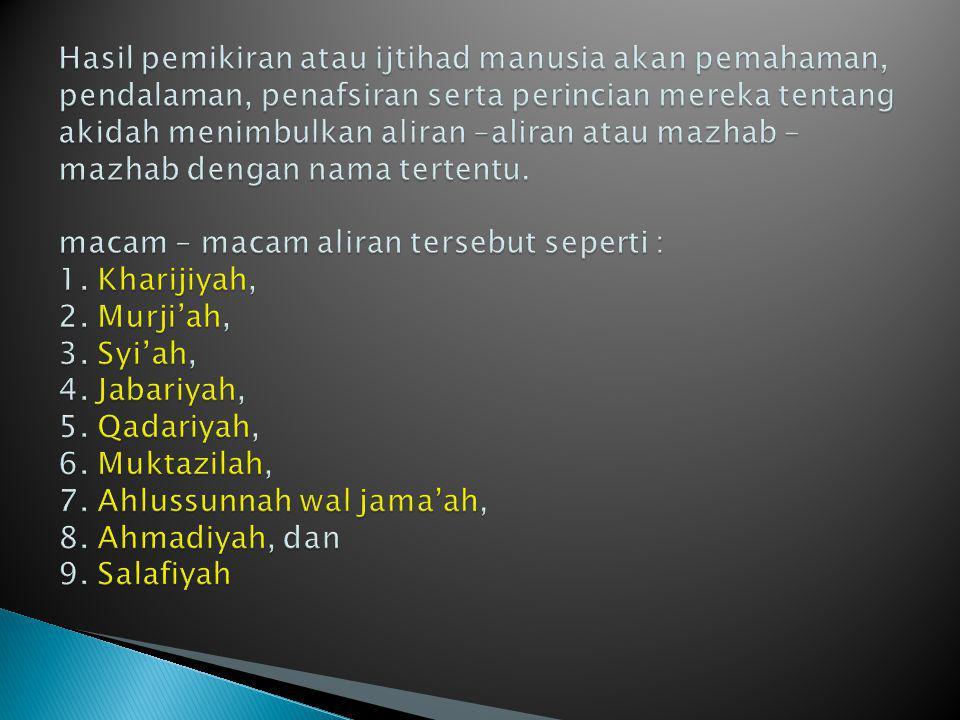 Kata Kharijiyah berasal dari kata Kharaja, artinya keluar.