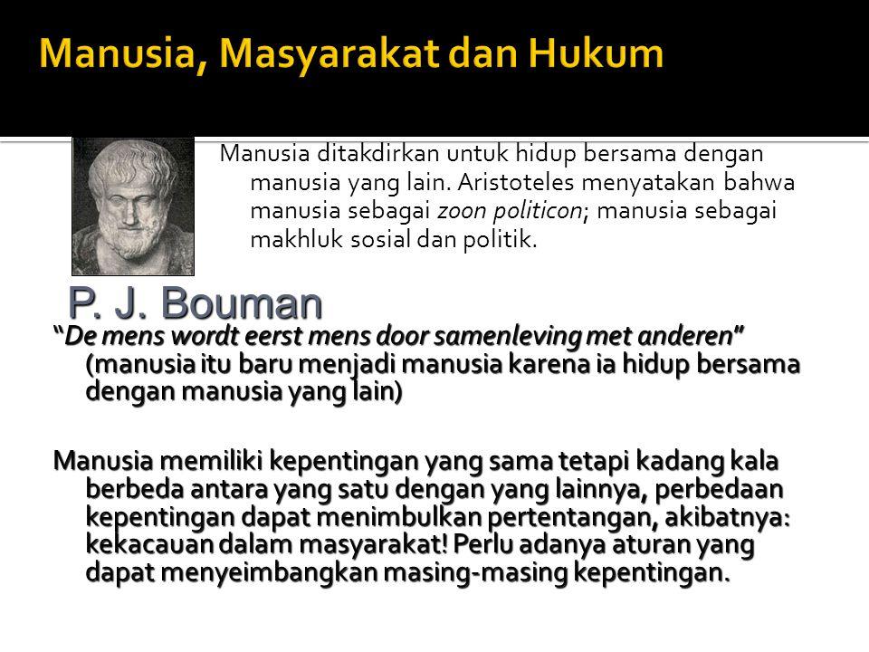 Manusia ditakdirkan untuk hidup bersama dengan manusia yang lain. Aristoteles menyatakan bahwa manusia sebagai zoon politicon; manusia sebagai makhluk