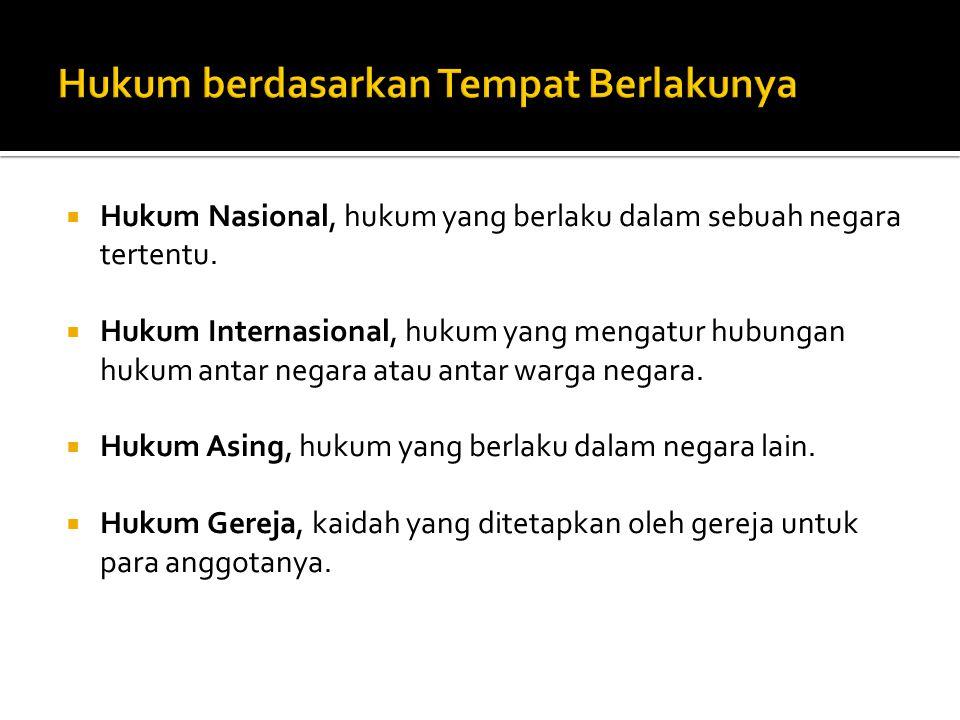 Hukum Nasional, hukum yang berlaku dalam sebuah negara tertentu.  Hukum Internasional, hukum yang mengatur hubungan hukum antar negara atau antar w