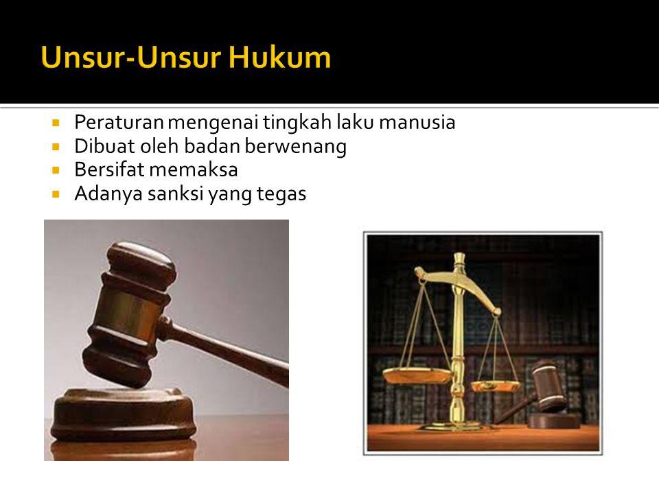  Peraturan mengenai tingkah laku manusia  Dibuat oleh badan berwenang  Bersifat memaksa  Adanya sanksi yang tegas