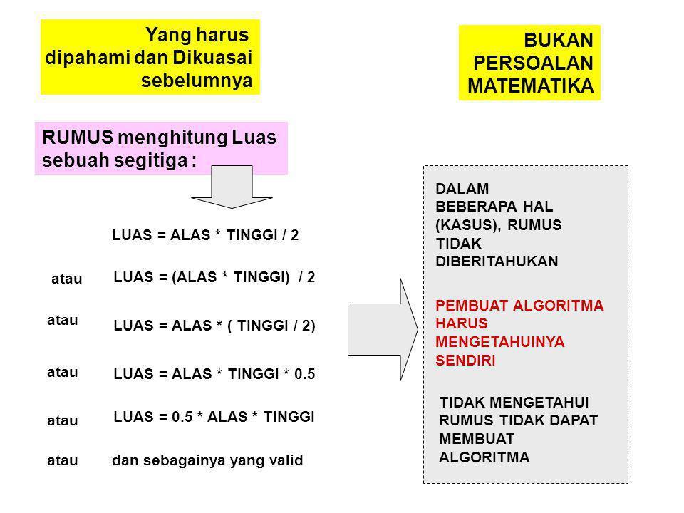 Yang harus dipahami dan Dikuasai sebelumnya RUMUS menghitung Luas sebuah segitiga : LUAS = ALAS * TINGGI / 2 LUAS = (ALAS * TINGGI) / 2 LUAS = ALAS * ( TINGGI / 2) LUAS = ALAS * TINGGI * 0.5 LUAS = 0.5 * ALAS * TINGGI atau dan sebagainya yang valid DALAM BEBERAPA HAL (KASUS), RUMUS TIDAK DIBERITAHUKAN PEMBUAT ALGORITMA HARUS MENGETAHUINYA SENDIRI TIDAK MENGETAHUI RUMUS TIDAK DAPAT MEMBUAT ALGORITMA BUKAN PERSOALAN MATEMATIKA
