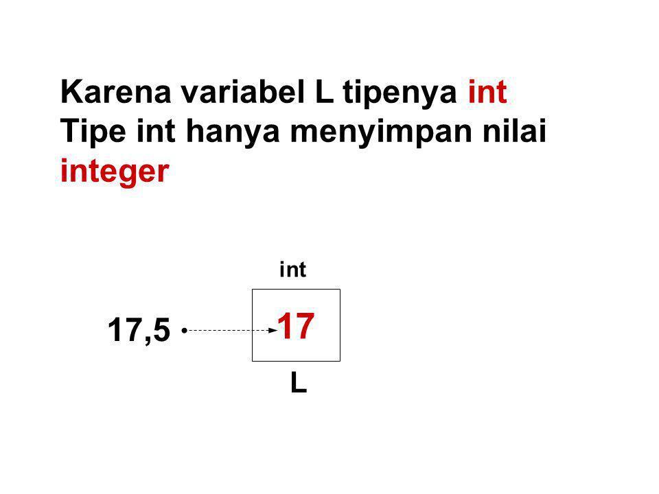 Karena variabel L tipenya int Tipe int hanya menyimpan nilai integer 17 L int 17,5