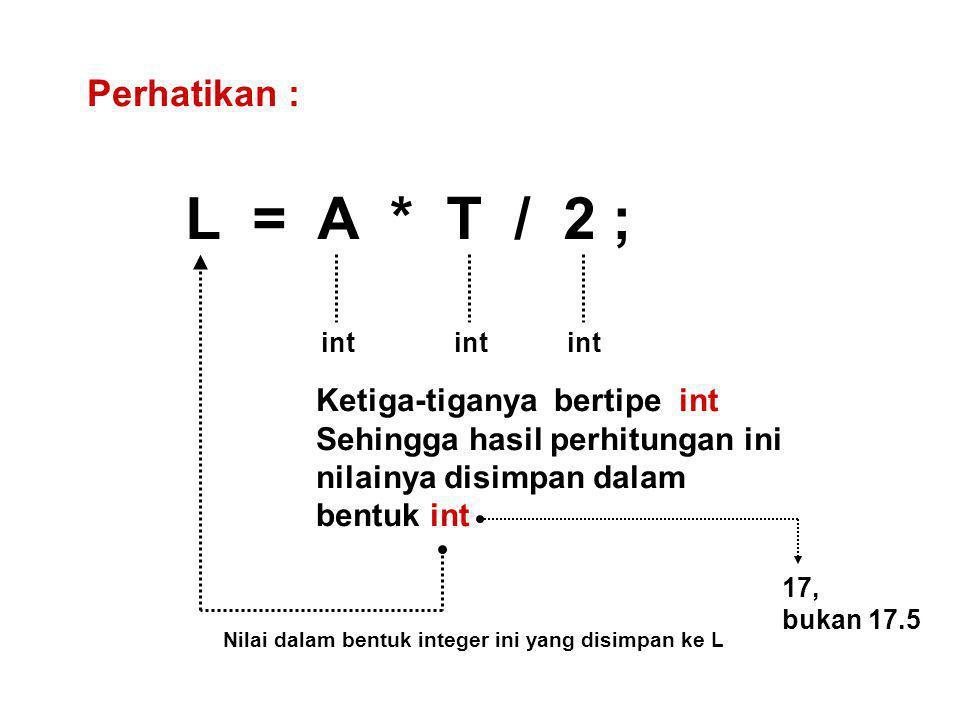Perhatikan : L = A * T / 2 ; int Ketiga-tiganya bertipe int Sehingga hasil perhitungan ini nilainya disimpan dalam bentuk int Nilai dalam bentuk integer ini yang disimpan ke L 17, bukan 17.5
