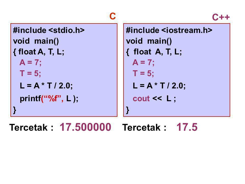 #include void main() { float A, T, L; A = 7; T = 5; L = A * T / 2.0; cout << L ; } Tercetak : 17.5 C++ #include void main() { float A, T, L; A = 7; T = 5; L = A * T / 2.0; printf( %f , L ); } C Tercetak : 17.500000
