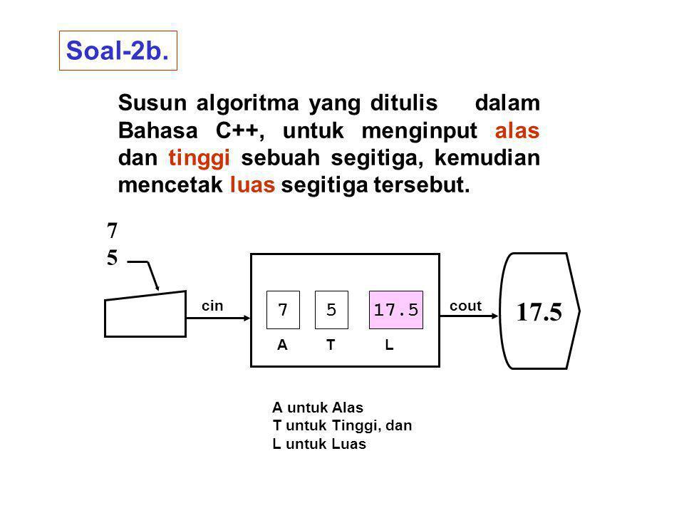 Susun algoritma yang ditulis dalam Bahasa C++, untuk menginput alas dan tinggi sebuah segitiga, kemudian mencetak luas segitiga tersebut.