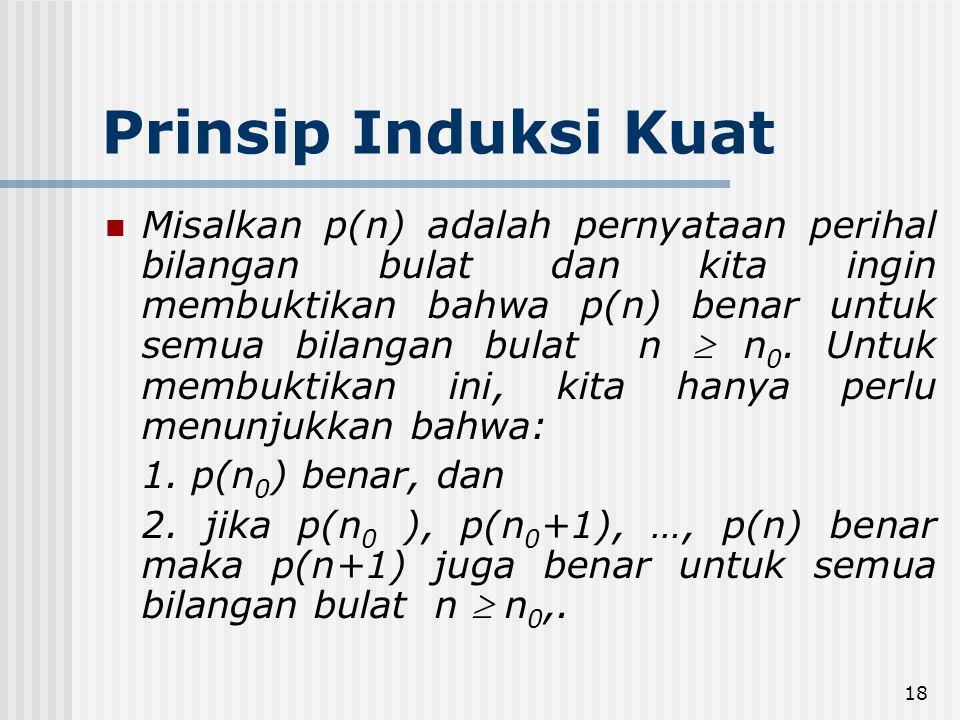 18 Prinsip Induksi Kuat Misalkan p(n) adalah pernyataan perihal bilangan bulat dan kita ingin membuktikan bahwa p(n) benar untuk semua bilangan bulat n  n 0.