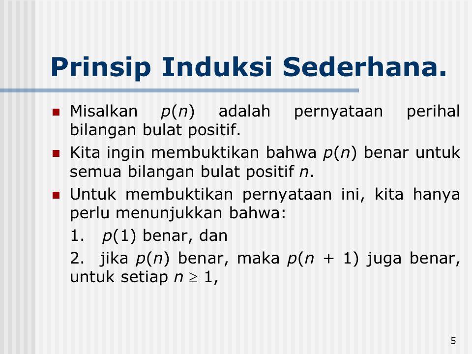 5 Prinsip Induksi Sederhana.Misalkan p(n) adalah pernyataan perihal bilangan bulat positif.