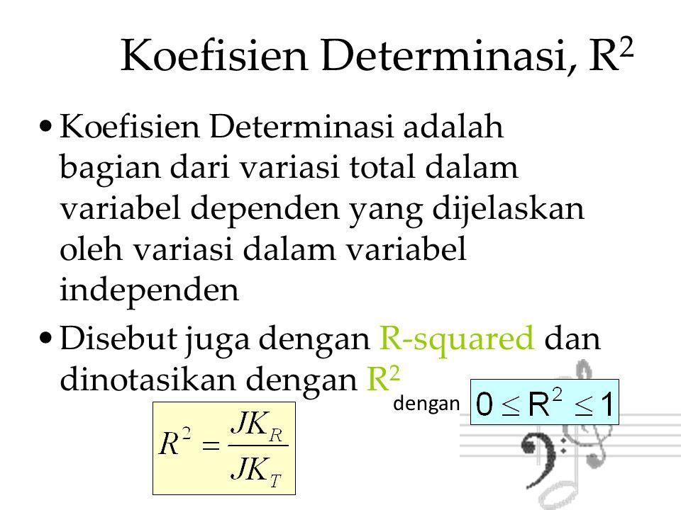Koefisien Determinasi, R 2 Catatan: pada regresi sederhana (satu variabel bebas) koefisien determinasi dapat dinyatakan dengan dengan: R 2 = Koefisien Determinasi r = Koefisien Korelasi Sederhana