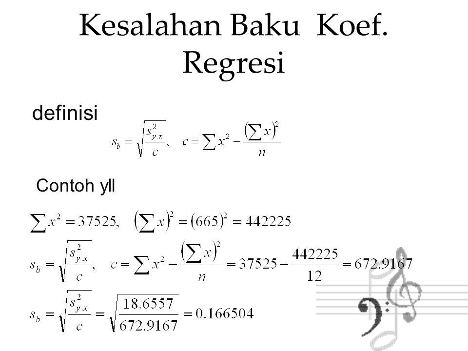 4. Kesimpulan : Tolak H0 karena Fobs=29.04>Ftabel=4.96 d.k.l regresi linier X dan Y berarti