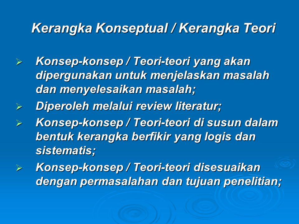 Kerangka Konseptual / Kerangka Teori  Konsep-konsep / Teori-teori yang akan dipergunakan untuk menjelaskan masalah dan menyelesaikan masalah;  Diperoleh melalui review literatur;  Konsep-konsep / Teori-teori di susun dalam bentuk kerangka berfikir yang logis dan sistematis;  Konsep-konsep / Teori-teori disesuaikan dengan permasalahan dan tujuan penelitian;