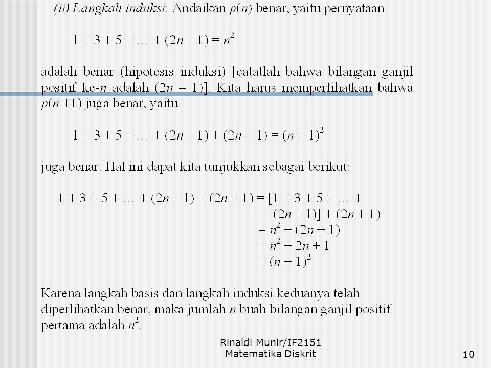 Rinaldi Munir/IF2151 Matematika Diskrit11 Prinsip Induksi yang Dirampatkan Misalkan p(n) adalah pernyataan perihal bilangan bulat dan kita ingin membuktikan bahwa p(n) benar untuk semua bilangan bulat n  n 0.