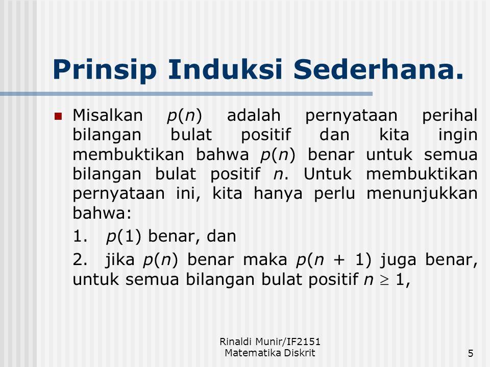 Rinaldi Munir/IF2151 Matematika Diskrit5 Prinsip Induksi Sederhana. Misalkan p(n) adalah pernyataan perihal bilangan bulat positif dan kita ingin memb