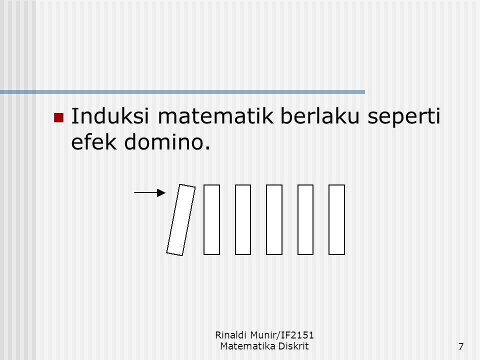 Rinaldi Munir/IF2151 Matematika Diskrit7 Induksi matematik berlaku seperti efek domino.