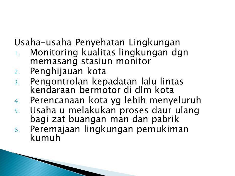 Usaha-usaha Penyehatan Lingkungan 1.Monitoring kualitas lingkungan dgn memasang stasiun monitor 2.