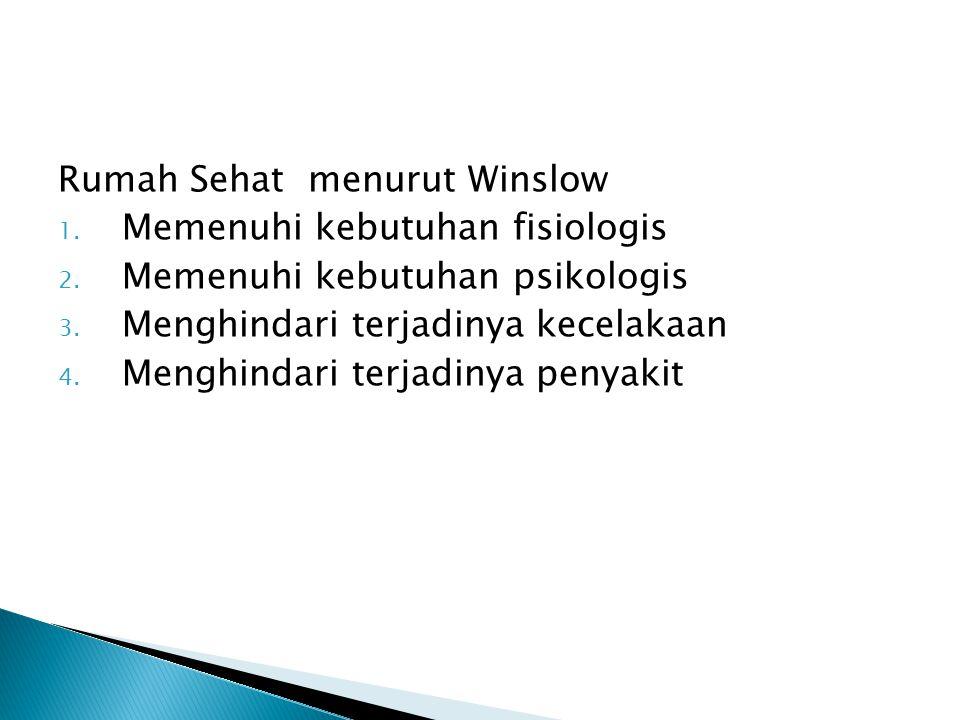 Rumah Sehat menurut Winslow 1.Memenuhi kebutuhan fisiologis 2.