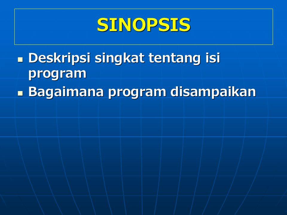 SINOPSIS Deskripsi singkat tentang isi program Deskripsi singkat tentang isi program Bagaimana program disampaikan Bagaimana program disampaikan