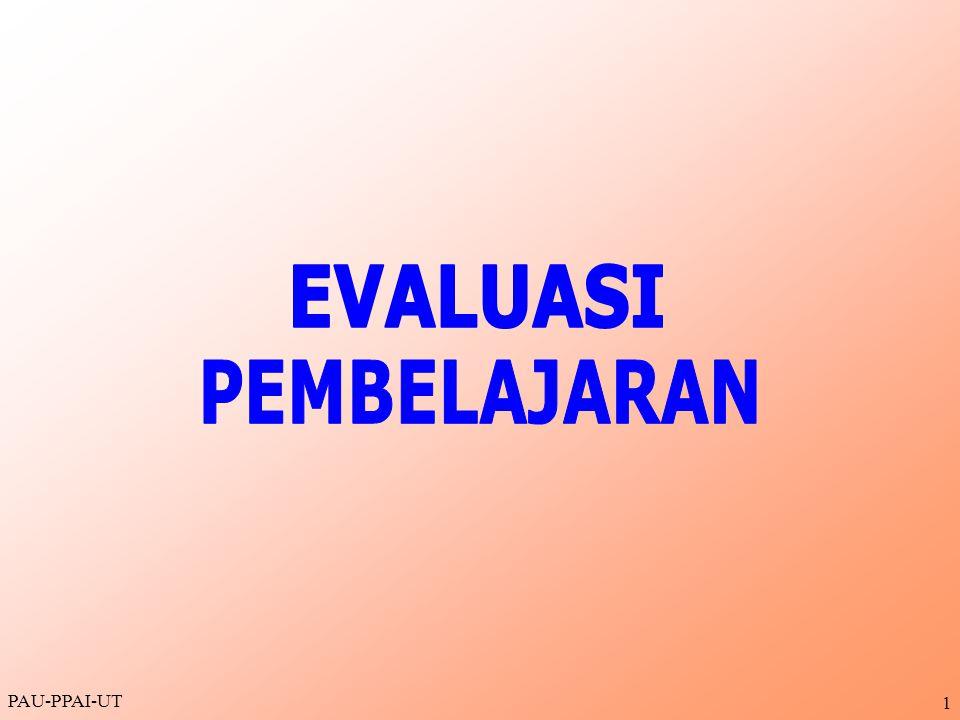2 Menyusun rancangan evaluasi pembelajaran yang hasilnya akan dipergunakan untuk memperbaiki kualitas pembelajaran Menjelaskan pentingnya evaluasi pembelajaran Menjelaskan objek evaluasi pembelajaran Menjelaskan proses evaluasi pembelajaran Membuat desain evaluasi pembelajaran Tujuan Instruksional Umum Tujuan Instruksional Khusus