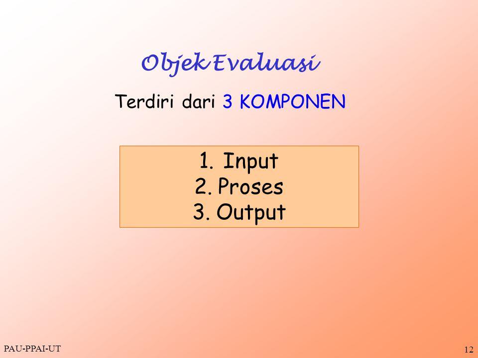PAU-PPAI-UT 12 Objek Evaluasi Terdiri dari 3 KOMPONEN 1.Input 2.Proses 3.Output