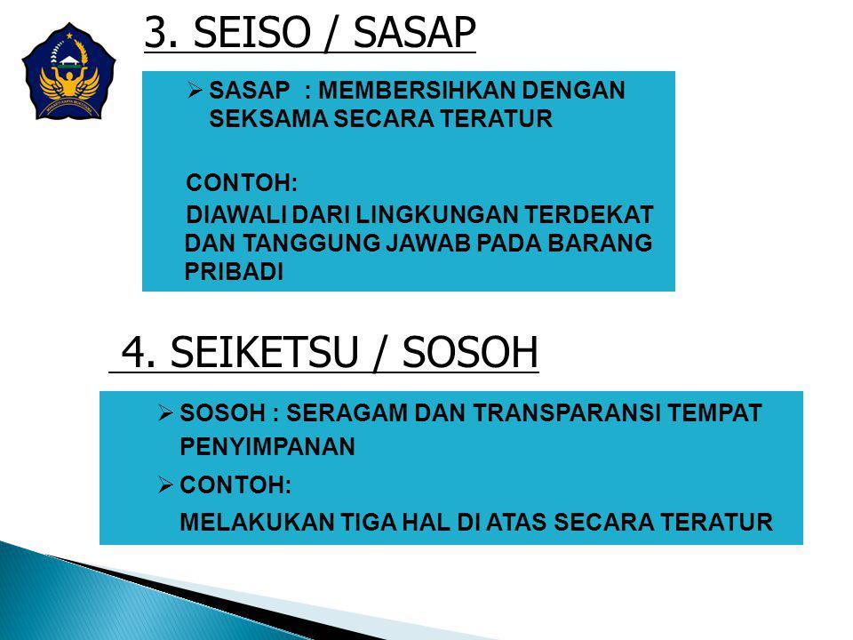 3. SEISO / SASAP  SASAP : MEMBERSIHKAN DENGAN SEKSAMA SECARA TERATUR CONTOH: DIAWALI DARI LINGKUNGAN TERDEKAT DAN TANGGUNG JAWAB PADA BARANG PRIBADI