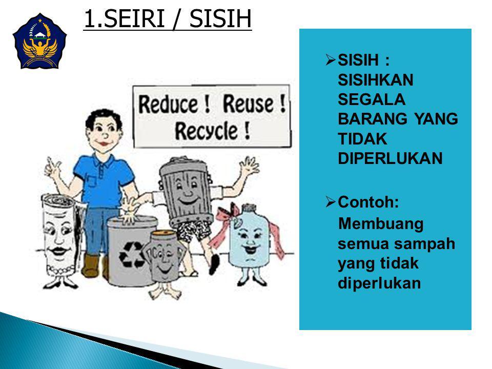 1.SEIRI / SISIH  SISIH : SISIHKAN SEGALA BARANG YANG TIDAK DIPERLUKAN  Contoh: Membuang semua sampah yang tidak diperlukan