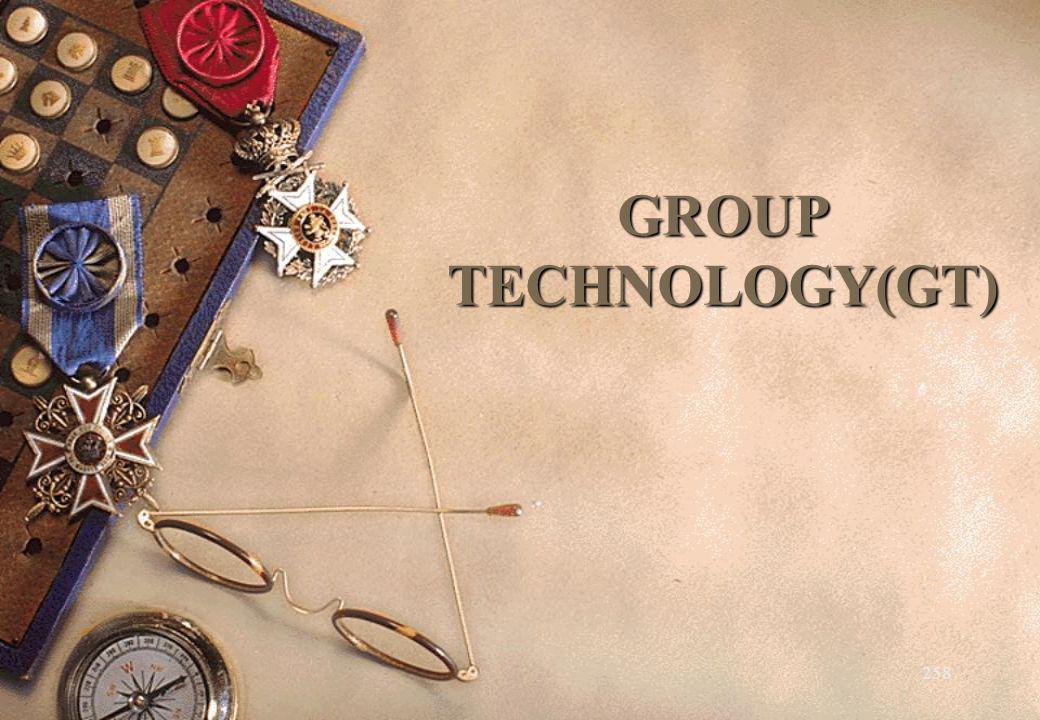 259 Teknologi Kelompok (Group Technology) suatu konsep untuk meningkatkan efisiensi produksi dengan mengelompokkan komponen atau produk berdasarkan kesamaan dalam disain dan/atau proses produksi