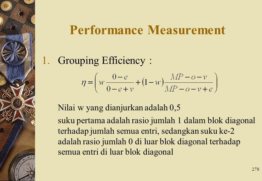 278 Performance Measurement 1.Grouping Efficiency : Nilai w yang dianjurkan adalah 0,5 suku pertama adalah rasio jumlah 1 dalam blok diagonal terhadap jumlah semua entri, sedangkan suku ke-2 adalah rasio jumlah 0 di luar blok diagonal terhadap semua entri di luar blok diagonal