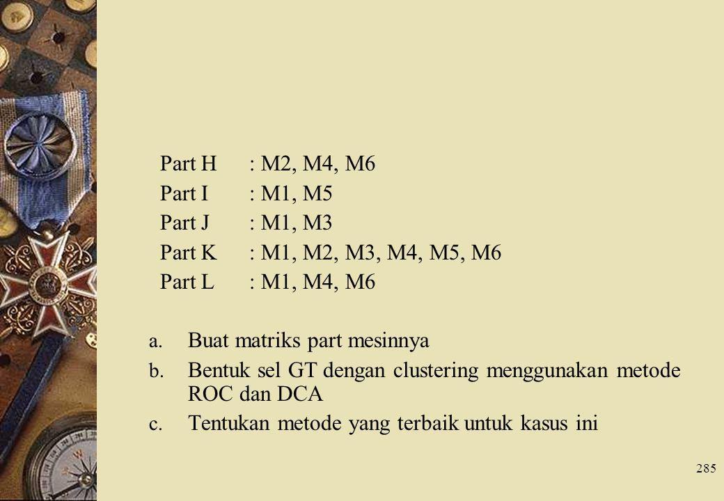 285 Part H : M2, M4, M6 Part I : M1, M5 Part J : M1, M3 Part K : M1, M2, M3, M4, M5, M6 Part L : M1, M4, M6 a. Buat matriks part mesinnya b. Bentuk se