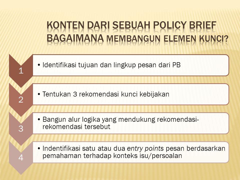 1 Identifikasi tujuan dan lingkup pesan dari PB 2 Tentukan 3 rekomendasi kunci kebijakan 3 Bangun alur logika yang mendukung rekomendasi- rekomendasi