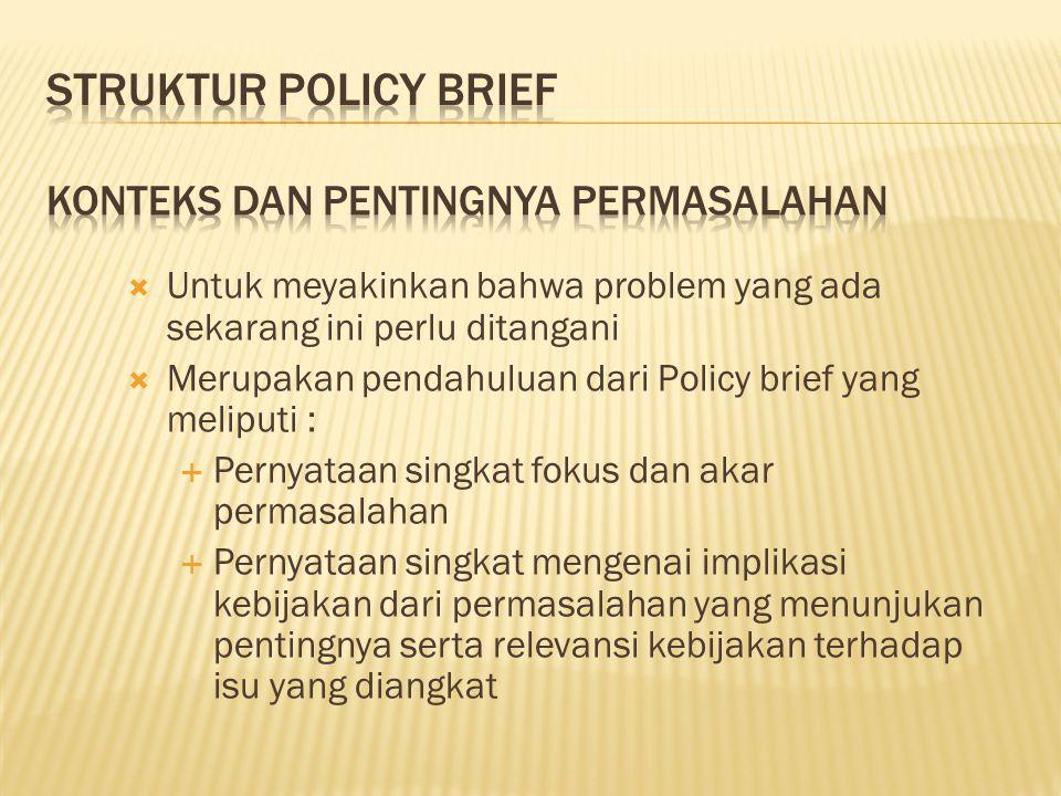  Untuk meyakinkan bahwa problem yang ada sekarang ini perlu ditangani  Merupakan pendahuluan dari Policy brief yang meliputi :  Pernyataan singkat