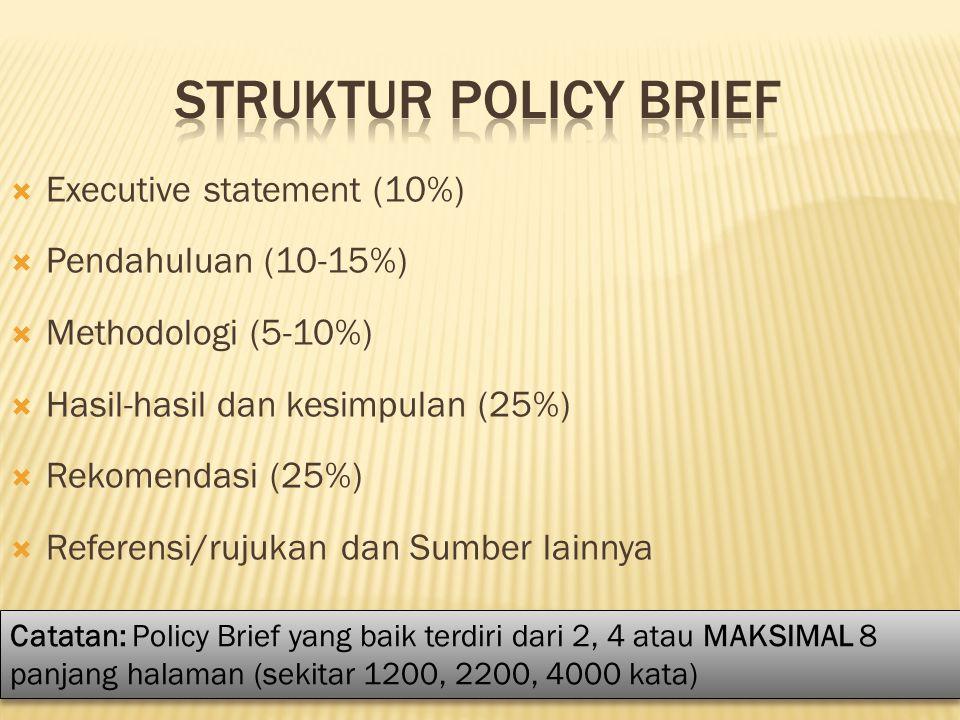  Executive statement (10%)  Pendahuluan (10-15%)  Methodologi (5-10%)  Hasil-hasil dan kesimpulan (25%)  Rekomendasi (25%)  Referensi/rujukan da