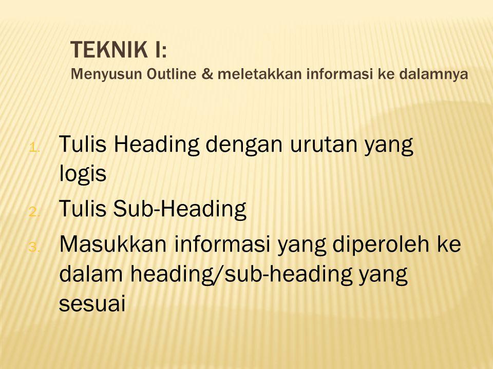 TEKNIK I: Menyusun Outline & meletakkan informasi ke dalamnya 1. Tulis Heading dengan urutan yang logis 2. Tulis Sub-Heading 3. Masukkan informasi yan