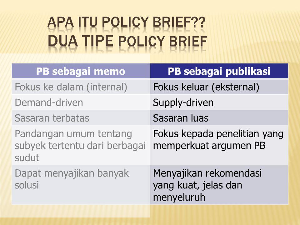 PB sebagai memoPB sebagai publikasi Fokus ke dalam (internal)Fokus keluar (eksternal) Demand-drivenSupply-driven Sasaran terbatasSasaran luas Pandanga