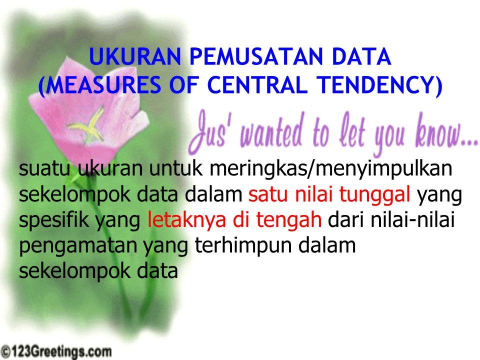 UKURAN PEMUSATAN DATA (MEASURES OF CENTRAL TENDENCY) suatu ukuran untuk meringkas/menyimpulkan sekelompok data dalam satu nilai tunggal yang spesifik