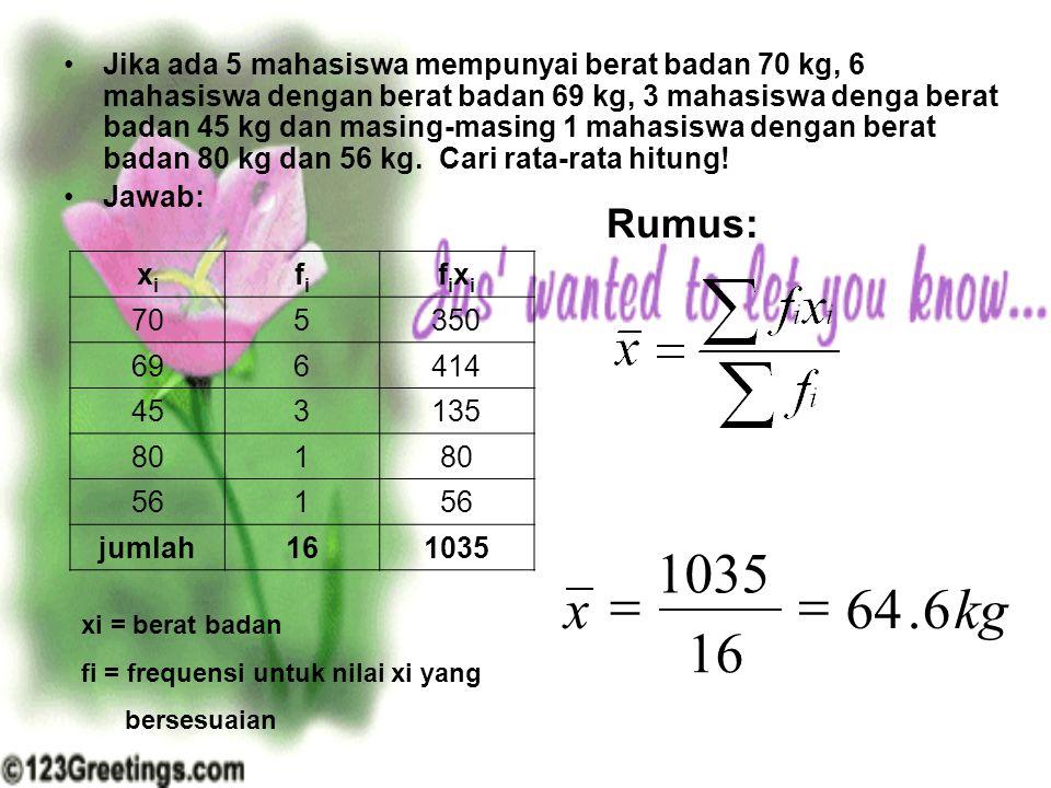 Jika ada 5 mahasiswa mempunyai berat badan 70 kg, 6 mahasiswa dengan berat badan 69 kg, 3 mahasiswa denga berat badan 45 kg dan masing-masing 1 mahasi