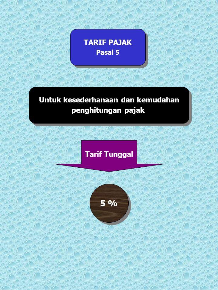 TARIF PAJAK Pasal 5 TARIF PAJAK Pasal 5 Untuk kesederhanaan dan kemudahan penghitungan pajak Untuk kesederhanaan dan kemudahan penghitungan pajak Tari