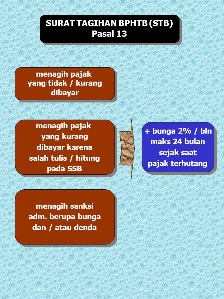 SURAT TAGIHAN BPHTB (STB) Pasal 13 SURAT TAGIHAN BPHTB (STB) Pasal 13 menagih pajak yang tidak / kurang dibayar menagih pajak yang tidak / kurang diba