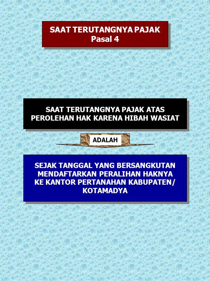 SAAT TERUTANGNYA PAJAK Pasal 4 SAAT TERUTANGNYA PAJAK Pasal 4 SAAT TERUTANGNYA PAJAK ATAS PEROLEHAN HAK KARENA HIBAH WASIAT SAAT TERUTANGNYA PAJAK ATA