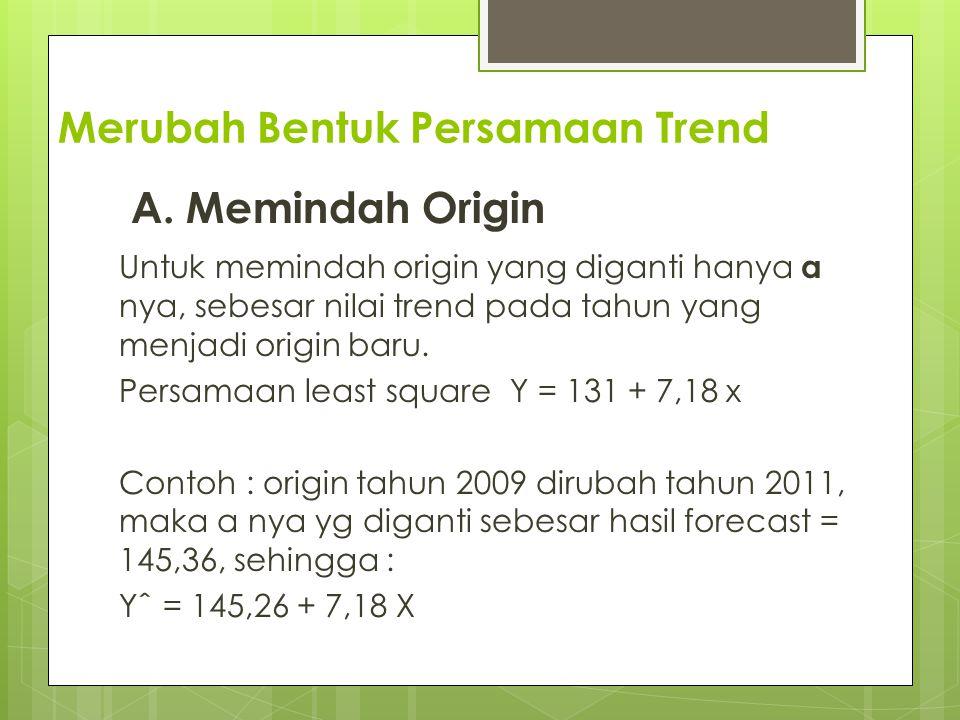 Merubah Bentuk Persamaan Trend A. Memindah Origin Untuk memindah origin yang diganti hanya a nya, sebesar nilai trend pada tahun yang menjadi origin b