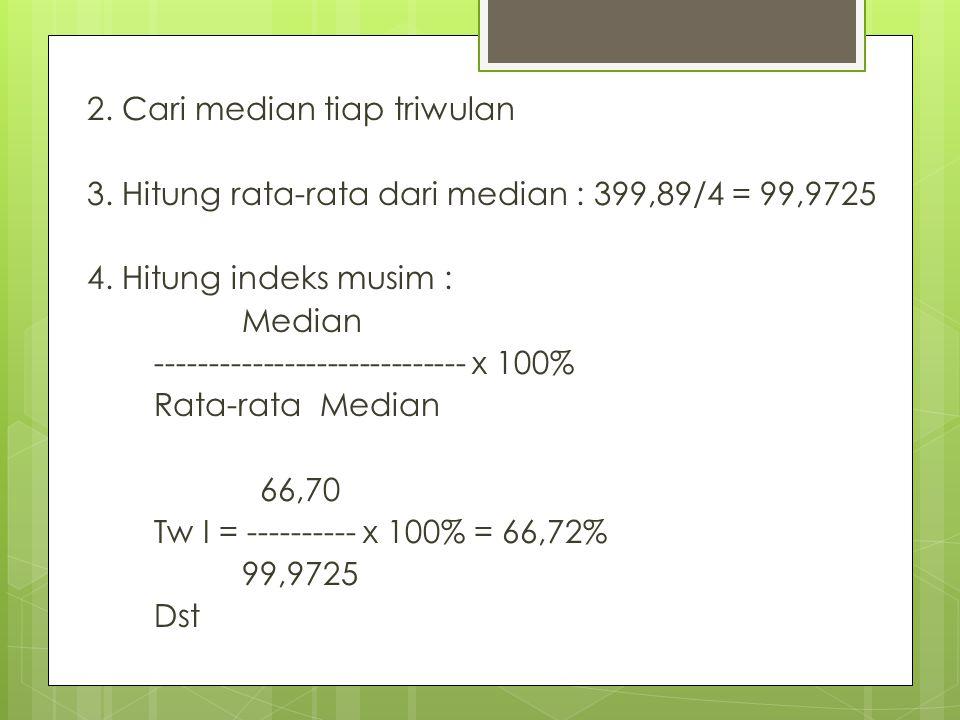 2. Cari median tiap triwulan 3. Hitung rata-rata dari median : 399,89/4 = 99,9725 4. Hitung indeks musim : Median ----------------------------- x 100%