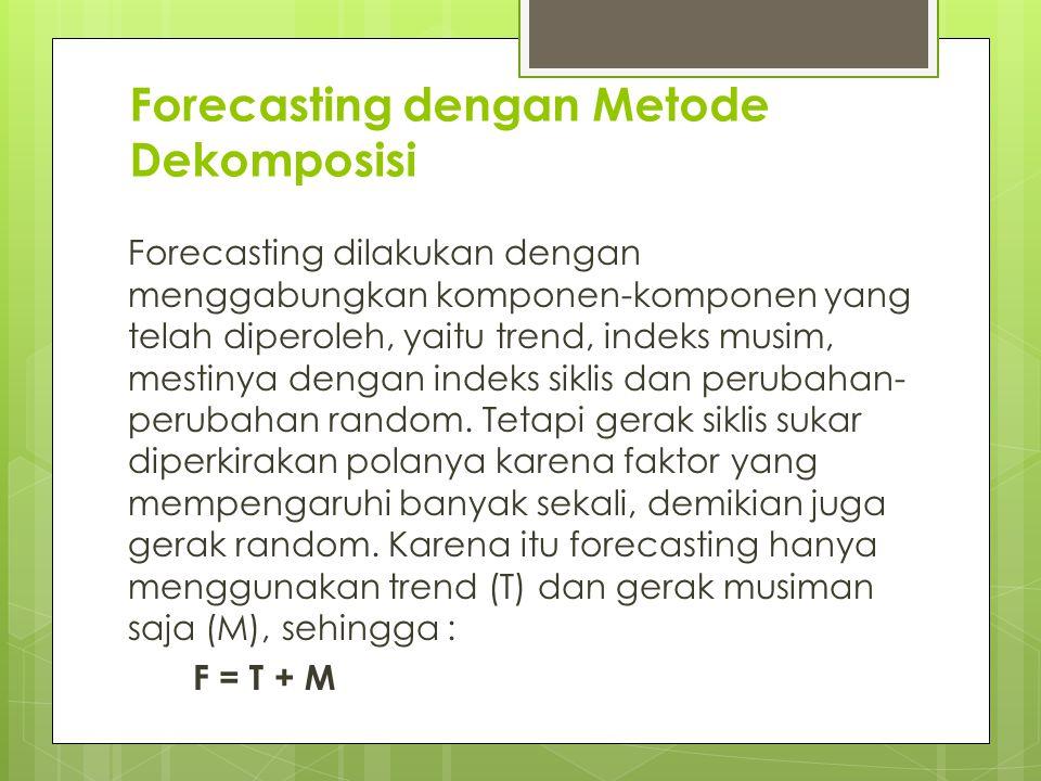 Forecasting dengan Metode Dekomposisi Forecasting dilakukan dengan menggabungkan komponen-komponen yang telah diperoleh, yaitu trend, indeks musim, me
