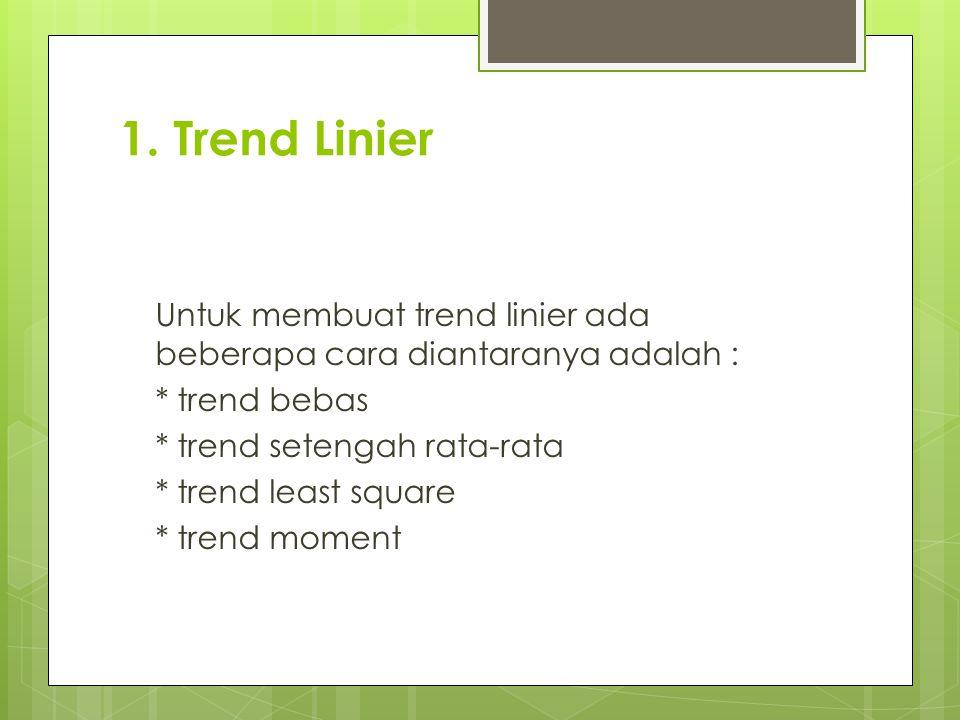 1. Trend Linier Untuk membuat trend linier ada beberapa cara diantaranya adalah : * trend bebas * trend setengah rata-rata * trend least square * tren