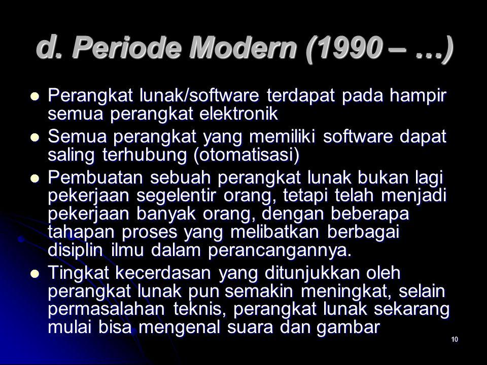 10 d. Periode Modern (1990 – …) Perangkat lunak/software terdapat pada hampir semua perangkat elektronik Perangkat lunak/software terdapat pada hampir