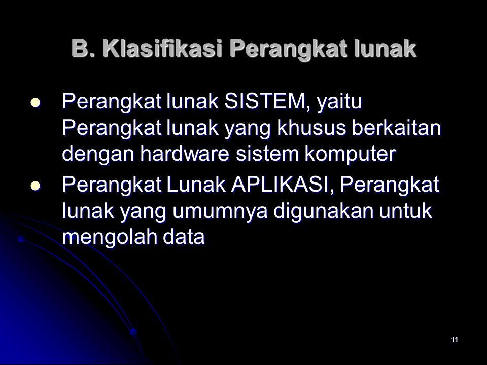 11 B. Klasifikasi Perangkat lunak Perangkat lunak SISTEM, yaitu Perangkat lunak yang khusus berkaitan dengan hardware sistem komputer Perangkat lunak