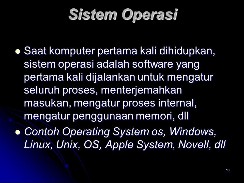 13 Sistem Operasi Saat komputer pertama kali dihidupkan, sistem operasi adalah software yang pertama kali dijalankan untuk mengatur seluruh proses, me